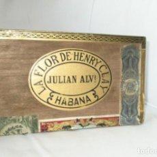 Cajas de Puros: LA FLOR DE HENRY CLAY. JULIÁN ÁLVAREZ. HABANA. CAJA VACÍA DE 25 ROTHSCHILDS. G. BOCK. PRE-EMBARGO.. Lote 297109753