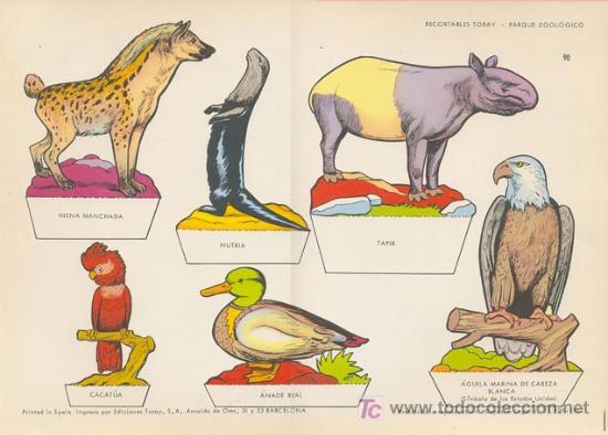PARQUE ZOOLOGICO. MEDIDA: 29X40 CM. EDICION: TORAY, 1962 (Coleccionismo - Recortables - Animales)