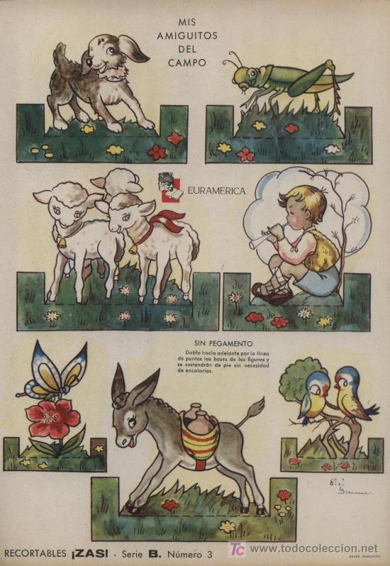 RECORTABLE ZAS (24,5X17,5) EN CARTON.SERIE B. Nº 3. MIS AMIGUITOS DEL CAMPO (Coleccionismo - Recortables - Animales)