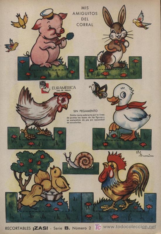 RECORTABLE ZAS (24,5X17,5) EN CARTON.SERIE B. Nº 2. MIS AMIGUITOS DEL CAMPO (Coleccionismo - Recortables - Animales)