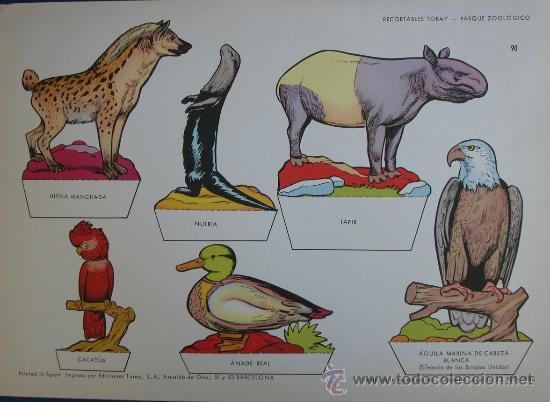 RECORTABLES TORAY - PARQUE ZOOLOGICO Nº 90 - ORIGINAL 1962 (Coleccionismo - Recortables - Animales)