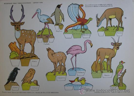 RECORTABLES TORAY - PARQUE ZOOLOGICO Nº 93 - ORIGINAL 1962 (Coleccionismo - Recortables - Animales)