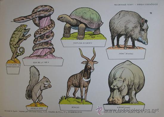 RECORTABLES TORAY - PARQUE ZOOLOGICO Nº 94 - ORIGINAL 1962 (Coleccionismo - Recortables - Animales)