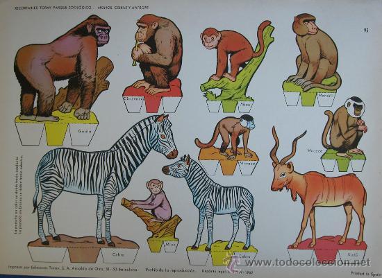 RECORTABLES TORAY - PARQUE ZOOLOGICO Nº 95 - ORIGINAL 1962 (Coleccionismo - Recortables - Animales)