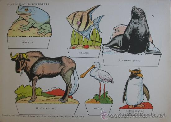 RECORTABLES TORAY - PARQUE ZOOLOGICO Nº 96 - ORIGINAL 1962 (Coleccionismo - Recortables - Animales)