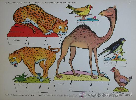 RECORTABLES TORAY - PARQUE ZOOLOGICO Nº 113 - ORIGINAL 1962 (Coleccionismo - Recortables - Animales)