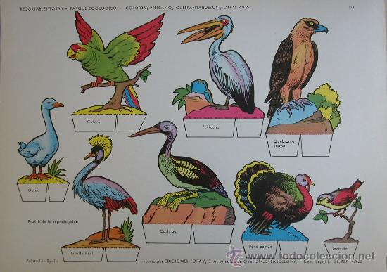 RECORTABLES TORAY - PARQUE ZOOLOGICO Nº 114 - ORIGINAL 1962 (Coleccionismo - Recortables - Animales)