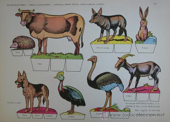 RECORTABLES TORAY - PARQUE ZOOLOGICO Nº 115 - ORIGINAL 1962 (Coleccionismo - Recortables - Animales)