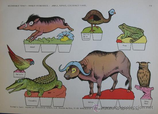 RECORTABLES TORAY - PARQUE ZOOLOGICO Nº 116 - ORIGINAL 1962 (Coleccionismo - Recortables - Animales)