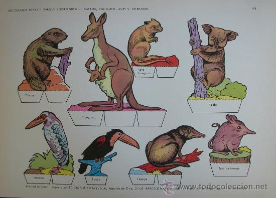 RECORTABLES TORAY - PARQUE ZOOLOGICO Nº 118 - ORIGINAL 1962 (Coleccionismo - Recortables - Animales)