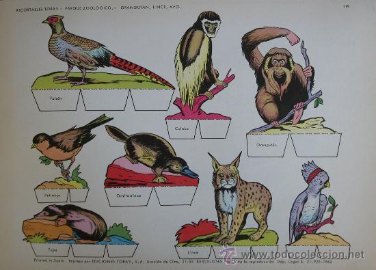 RECORTABLES TORAY - PARQUE ZOOLOGICO Nº 119 - ORIGINAL 1962 (Coleccionismo - Recortables - Animales)