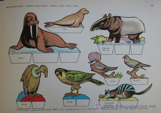RECORTABLES TORAY - PARQUE ZOOLOGICO Nº 120 - ORIGINAL 1962 (Coleccionismo - Recortables - Animales)
