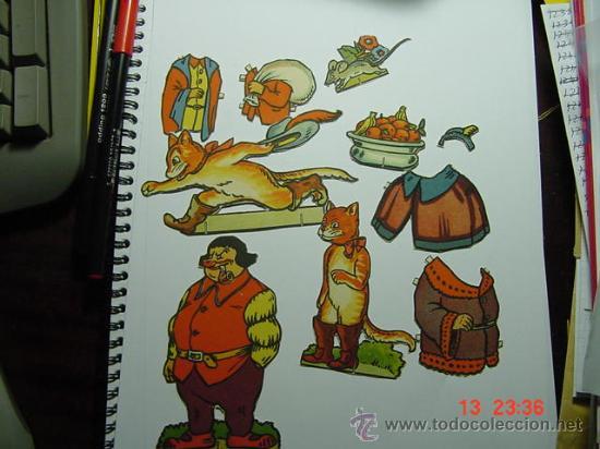 1402 PRECIOSO JUEGO RECORTABLES EL GATO CON BOTAS AÑOS 1930/50 MAS EN MI TIENDA C&C (Coleccionismo - Recortables - Animales)
