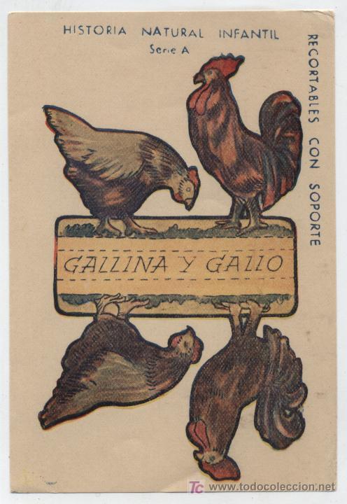 ANIMALES PLEGABLES. GALLINA Y GALLO. (12X8) HISTORIA NATURAL INFANTIL. (Coleccionismo - Recortables - Animales)