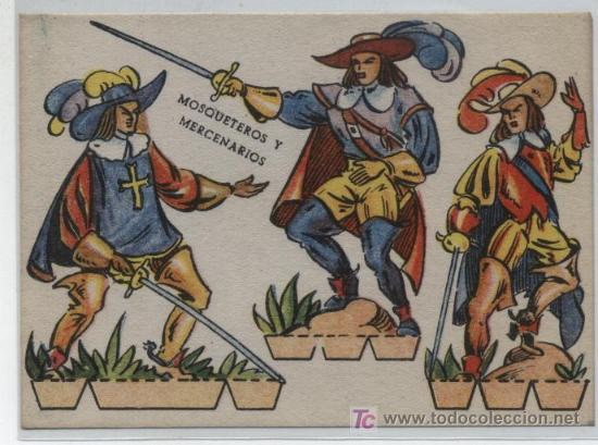RECORTABLE (11X6). MOSQUETEROS Y MERCENARIOS. AÑO 1960. (Coleccionismo - Recortables - Animales)