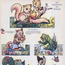 Coleccionismo Recortables: RECORTABLES ZAS DE EDITORIAL EURAMÉRICA - MIS AMIGUITOS DEL BOSQUE. SERIE B, Nº 4. CIRCA 1940. . Lote 27169529