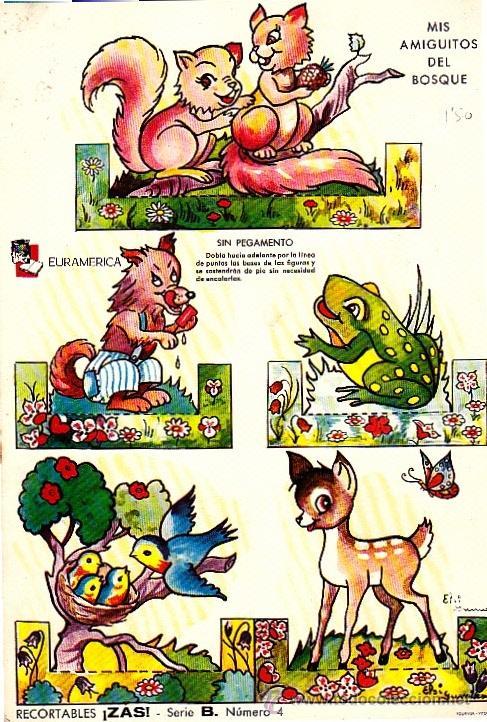 RECORTABLE ZAS Nº 4 SERIE B FOURNIER MIS AMIGUITOS DEL BOSQUE (Coleccionismo - Recortables - Animales)