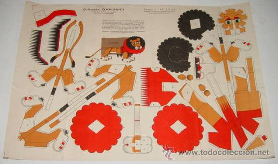 ANTIGUO RECORTABLE - EL LEON - LAMINA 1 .- COLECCION ZOOLOGICA . EDICIONES P.E.J. - HELIOS, MADRID - (Coleccionismo - Recortables - Animales)