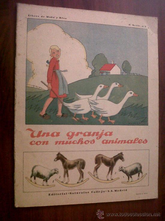 UNA GRANJA CON MUCHOS ANIMALES-LIBROS DE MAÑA Y RISA- RECORTABLE-SATURNINO CALLEJA-1ª SERIE Nº2 (Coleccionismo - Recortables - Animales)