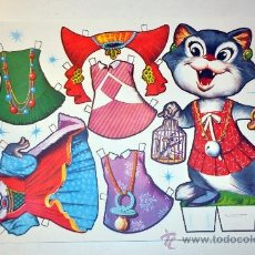 Collectables Paper Dolls - Modelo Lamina 8. Recortable fabula animal gato MARIQUITA año 1970 - 127220678