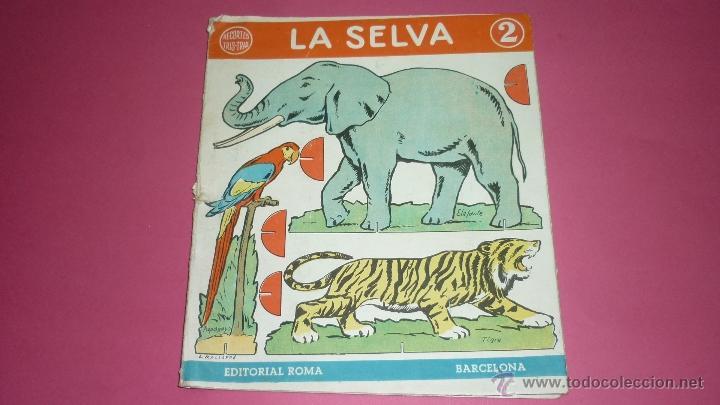 LA SELVA. RECORTES TRIS-TRAS. ED. ROMA. BARCELONA. ILUST: MALLAFRÉ. DESPLEGABLE EN CARTON. AÑOS 50S (Coleccionismo - Recortables - Animales)