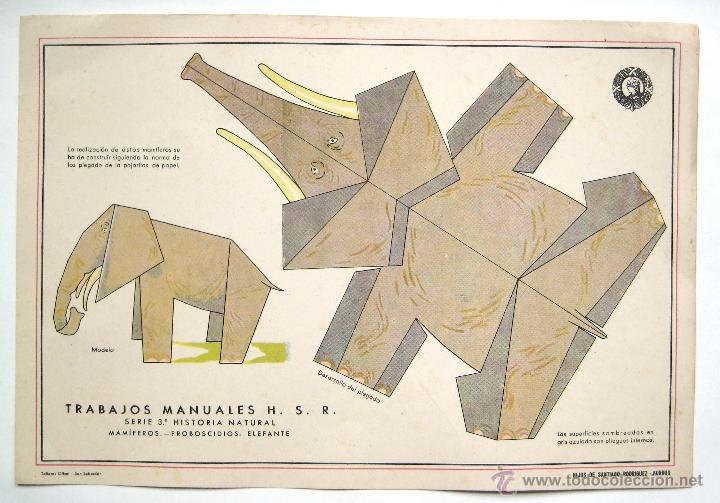 LAMINA RECORTABLE TRABAJOS MANUALES HIJOS DE SANTIAGO RODRIGUEZ. SERIE 3ª HISTORIA NATURAL. ELEFANTE (Coleccionismo - Recortables - Animales)