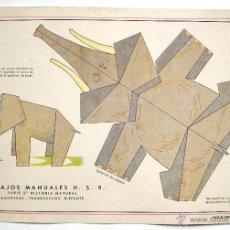 Coleccionismo Recortables: LAMINA RECORTABLE TRABAJOS MANUALES HIJOS DE SANTIAGO RODRIGUEZ. SERIE 3ª HISTORIA NATURAL. ELEFANTE. Lote 40262821