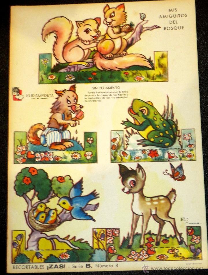 MIS AMIGUITOS DEL BOSQUE RECORTABLES ZAS SERIE B NUMERO 4 (Coleccionismo - Recortables - Animales)