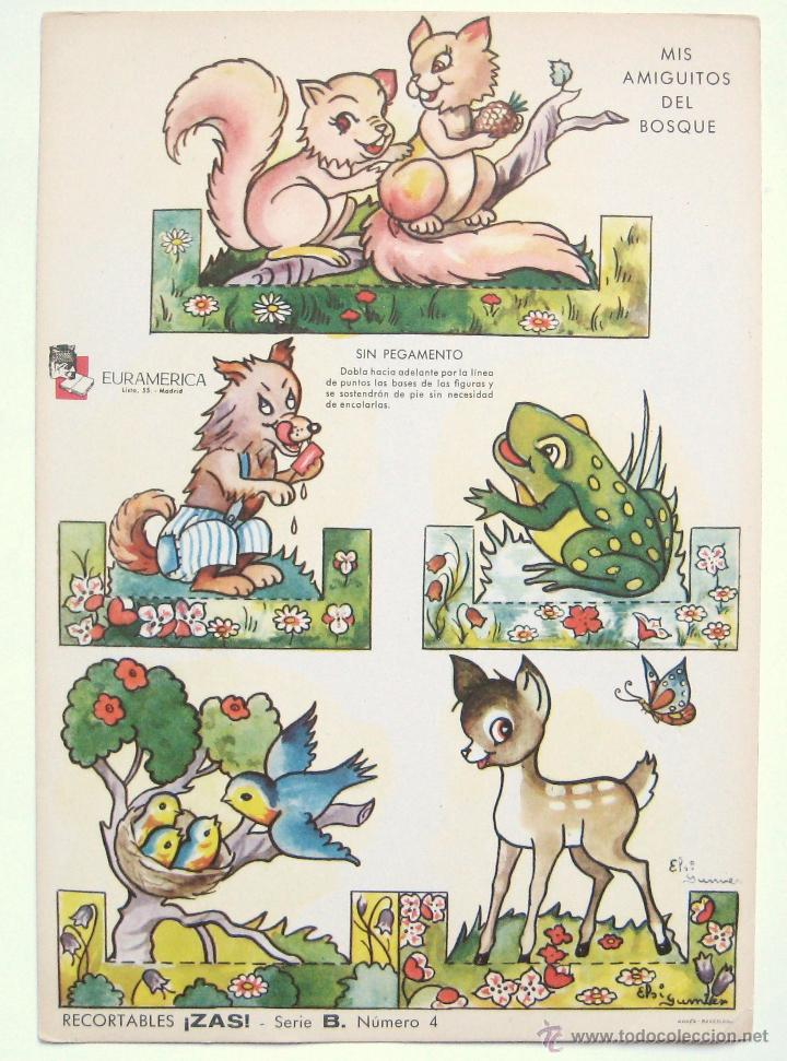 LAMINA RECORTABLE MIS AMIGUITOS DEL BOSQUE. RECORTABLES ZAS SERIE B Nº 4 EURAMERICA AÑOS 50 - 60 (Coleccionismo - Recortables - Animales)