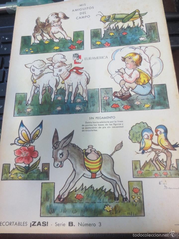 LÁMINA RECORTABLES ZAS SERIE B Nº 3 MIS AMIGUITOS DEL CAMPO EDIT EURAMERICA (Coleccionismo - Recortables - Animales)