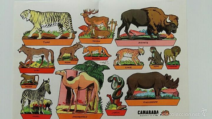 HOJA RECORTABLES ANIMALES. GARCES 1959. CAMARADA SUPLEMENTO 13 (Coleccionismo - Recortables - Animales)