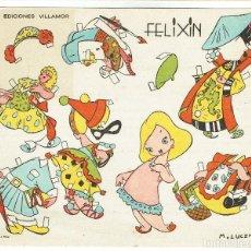 Coleccionismo Recortables: RECORTABLE INFANTIL. FELIXIN, DE EDICIONES VILLAMOR-MÁLAGA. AÑOS 1940.. Lote 105354099