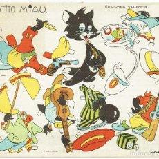 Coleccionismo Recortables: RECORTABLE INFANTIL. GATITO MIAU, DE EDICIONES VILLAMOR-MÁLAGA. AÑOS 1940.. Lote 105354399