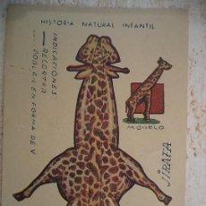 Coleccionismo Recortables: CROMO HISTORIA NATURAL INFANTIL.SERIE A.ANIMALES PLEGABLES.JIRAFA. Lote 107001599