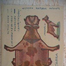 Coleccionismo Recortables: CROMO HISTORIA NATURAL INFANTIL.SERIE A.ANIMALES PLEGABLES.CABRA. Lote 107001899