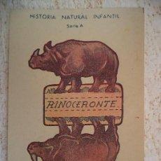 Coleccionismo Recortables: CROMO HISTORIA NATURAL INFANTIL.SERIE A.RECORTABLE CON SOPORTE.RINOCERONTE. Lote 107003931