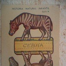 Coleccionismo Recortables: HISTORIA NATURAL INFANTIL.SERIE A.RECORTABLES CON SOPORTE.CEBRA.. Lote 107016879