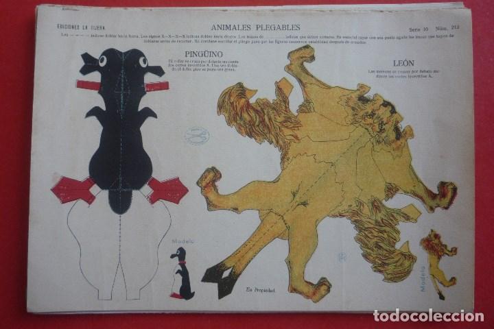ANIMALES PLEGABLES. 'PINGÜINO Y LEÓN'. EDICIONES LA TIJERA SERIE 10 Nº 213. TAMAÑO 23X33,5 CM. (Coleccionismo - Recortables - Animales)