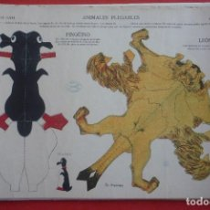 Collectables Paper Dolls - ANIMALES PLEGABLES. 'PINGÜINO Y LEÓN'. EDICIONES LA TIJERA SERIE 10 Nº 213. TAMAÑO 23X33,5 CM. - 135240718