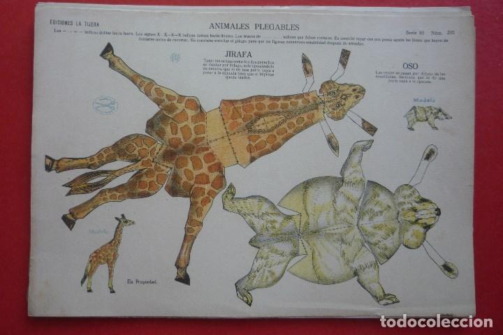 ANIMALES PLEGABLES. 'JIRAFA Y OSO'. EDICIONES LA TIJERA SERIE 10 Nº 215. TAMAÑO 23X33,5 CM. (Coleccionismo - Recortables - Animales)