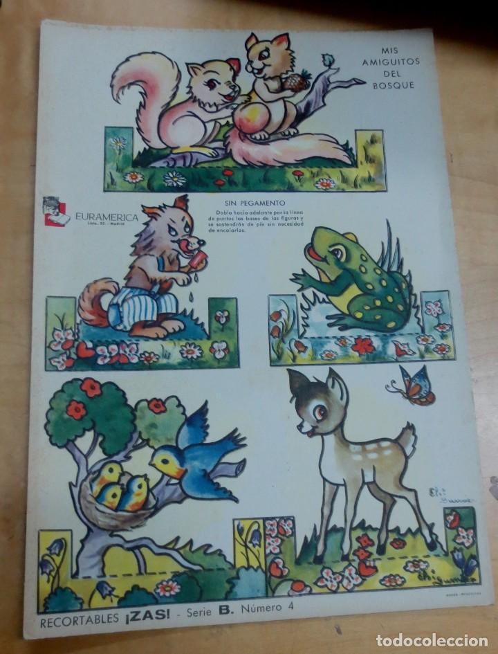 RECORTABLE MIS AMIGUITOS DEL CAMPO ZAS SERIE B Nº 4 EURAMÉRICA 25X17 CM. (Coleccionismo - Recortables - Animales)