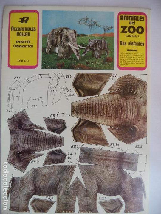DOS ELEFANTES ROLLAN ANIMALES DEL ZOO Nª2 (Coleccionismo - Recortables - Animales)