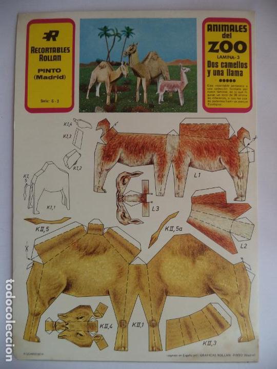 2 CAMELLOS Y UNA LLAMA Nº3 RECORTABLES ROLLAN (Coleccionismo - Recortables - Animales)