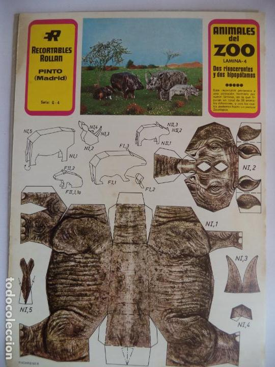 DOS RINOCERONTES Y DOS HIPOPOTAMOS Nª4 ROLLAN (Coleccionismo - Recortables - Animales)
