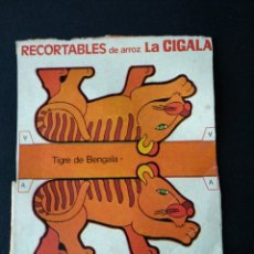 Coleccionismo Recortables: RECORTABLES DE ARROZ LA CIGALA TIGRE DE BENGALA. Lote 181004590