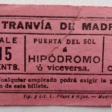 Coleccionismo Recortables: ANTIGUO BILLETE DE TRANVÍA. . Lote 184644092