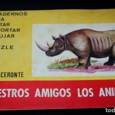 Coleccionismo Recortables: NUESTROS AMIGOS LOS ANIMALES: RINOCERONTE. ( PINTAR, RECORTAR ,DIBUJAR Y PUZZLE). Lote 204084850