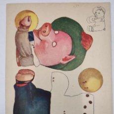 Coleccionismo Recortables: RECORTABLE CON MOVIMIENTO - CERDITO DE LOS PLATILLOS - AÑOS 30. Lote 223997125