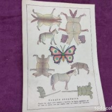 Colecionismo Recortáveis: HOJA CON RECORTABLE DE ANIMALES, PARQUE ZOOLÓGICO, UNOS 29 X 20 CMS. MEDIADOS XX.. Lote 241991880