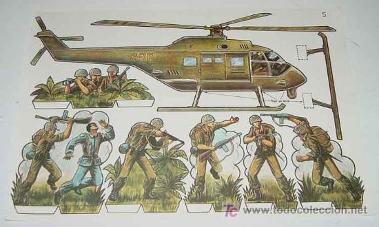 ANTIGUO RECORTABLE MILITARES - ESCENAS DE GUERRA Nº 5 - MIDE 34 X 24 CMS. PAPER SOLDIER (Coleccionismo - Otros recortables)